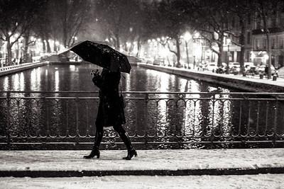 Jan 13 Paris Snow at Night
