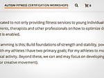 Autism Fitness Level 1 Certification