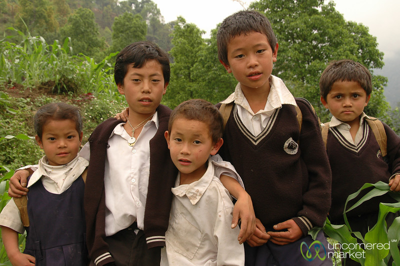 Students on the Way Home - Sikkim