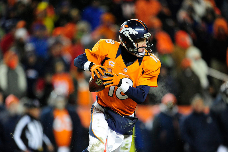 . Denver Broncos quarterback Peyton Manning (18) looks to pass in overtime. The Denver Broncos vs Baltimore Ravens AFC Divisional playoff game at Sports Authority Field Saturday January 12, 2013. (Photo by AAron  Ontiveroz,/The Denver Post)