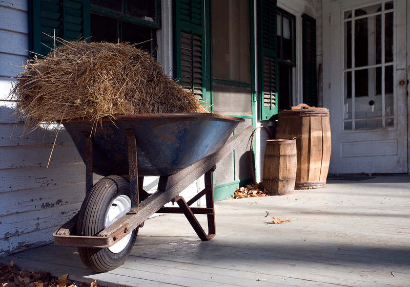 Wheelbarrow with hey, Ambler Farm, Wilton, CT, USA