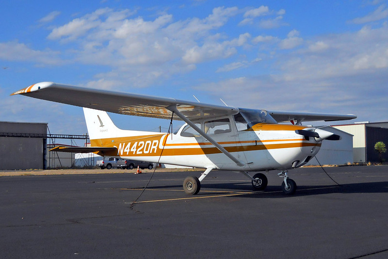 """Cessna 172M Skyhawk II [1974] N4420R Casparis Airport, Alpine, Texas - July 2011  The Cessna 172M of 1973–76 gained a drooped wing leading edge for improved low speed handling capability. This was marketed as the """"camber-lift"""" wing. The 1974 model 172M was also the first to introduce the optional """"Skyhawk II"""" package which offered higher standard equipment, including a second nav/comm radio, an ADF, and a transponder. The baggage compartment was increased in size, also. Nose-mounted dual landing lights were an option."""