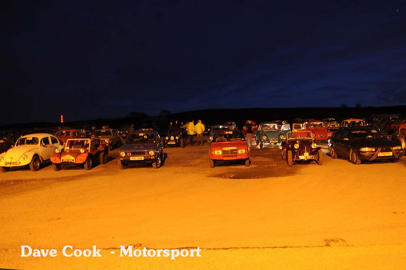 Some of the cars lined up at the start