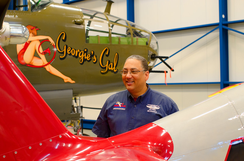 Bill Shepard and the Red Tail Mustang at the Liberty Aviation Museum