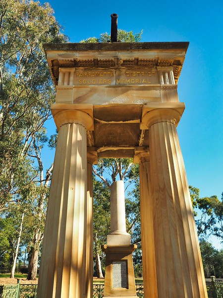 My bicycle ride in Parramatta Park took me past this grand, columned, sandstone monument to the soldiers who went to the Boer War.