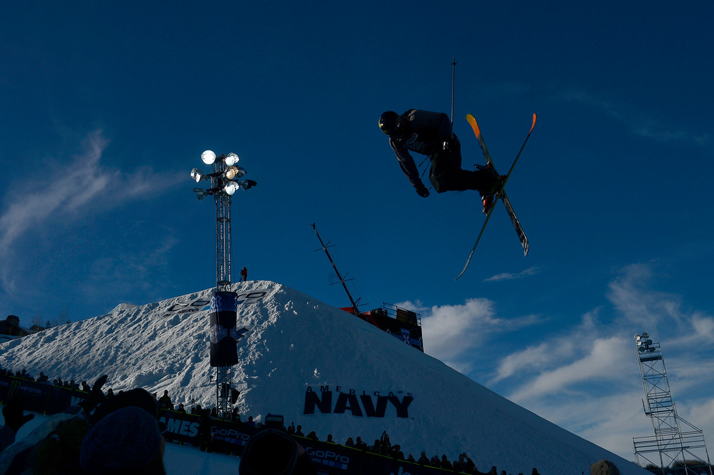 . ASPEN, CO - JANUARY 25: Lyman Currier rides during the men\'s ski half pipe final. Winter X Games on Sunday, January 25, 2015. (Photo by AAron Ontiveroz/The Denver Post)