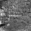 NJ910914A, Man marking Ordnance Survey minor control revision point with an arrow in 1950s