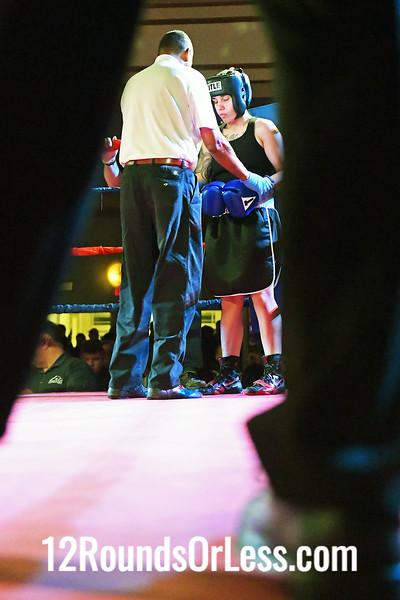 Bout #11:  Courtney Benning (Red Gloves), United BC  vs  Mariana Rosado (Blue Gloves), MJ Zone Rec.,  152Lbs., Novice