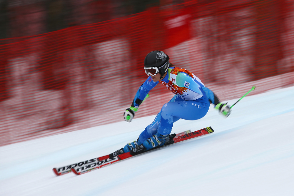 Description of . Tina Maze of Slovenia makes a run during the Alpine Skiing Women's Giant Slalom on day 11 of the Sochi 2014 Winter Olympics at Rosa Khutor Alpine Center on February 18, 2014 in Sochi, Russia.  (Photo by Doug Pensinger/Getty Images)