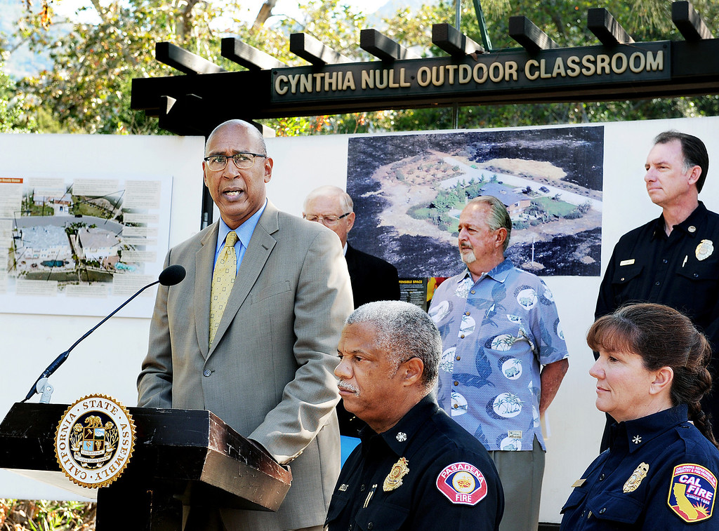 . Assemblymember Chris Holden (D-Pasadena) speaking at wildfire prevention news conference   at Eaton Canyon Nature Center in Pasadena Friday, June 20, 2014. LA County Superivsor Michael Antonovich, Pasadena Fire Chief Calvin Wells, JPL/NASA Climatologist Bill Patzert, LA Deputy Fire Chief John Todd, and Cal Fire Mary Stock Division Chief, Fenner Canyon Conservation at news conference. This summer fire season starts Saturday and may be even more fiery than usual, climatologists say. After years of drought, a warmer-than-average fall, winter and spring with 40 percent less rain this year, the Southland could be in for an especially scorching fire season. (Photo by Walt Mancini/Pasadena Star-News)