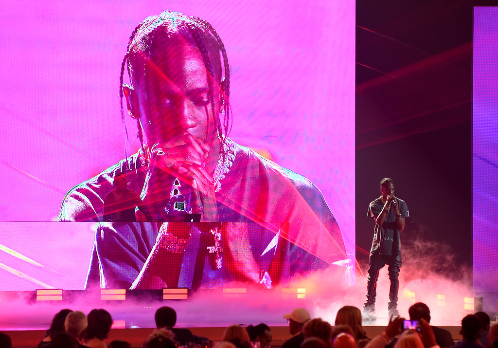 . Travis Scott performs at the NBA Awards on Monday, June 25, 2018, at the Barker Hangar in Santa Monica, Calif. (Photo by Chris Pizzello/Invision/AP)