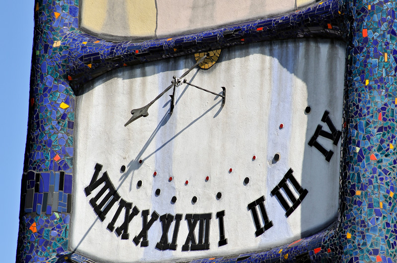Clock of St. Barbara Church by Hundertwasser in Barnbach, Austri