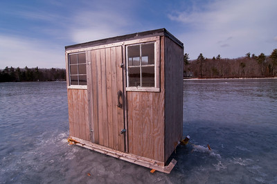 A more traditional wooden ice shack, no one knew who owned it, Sebago Lake, Maine.
