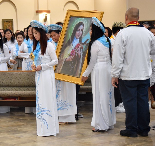 The image of St. Theresa is brought forward