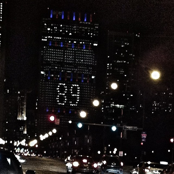 The BCBS Illinois building is all lit up to celebrate the retirement of #89 on MNF for Mike #Ditka #gobears #bears