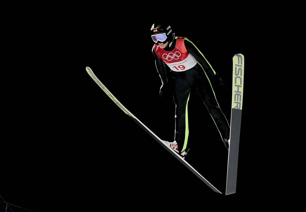. Daniela Iraschko-Stolz, of Austria, soars through the air during the women\'s normal hill individual ski jumping competition at the 2018 Winter Olympics in Pyeongchang, South Korea, Monday, Feb. 12, 2018. (AP Photo/Kirsty Wigglesworth)