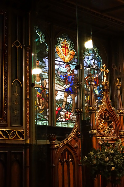 Stained glass windows depict Montreal history