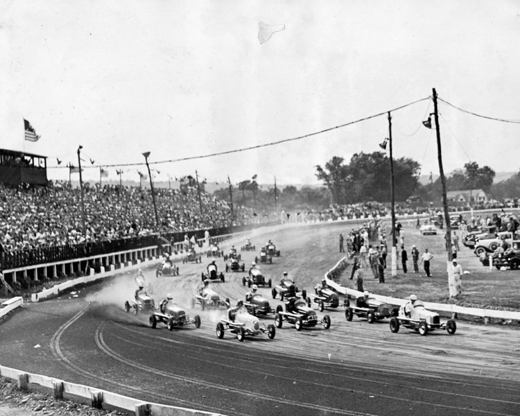 """This is a very rare photo of Union Speedway located on the South side of Farchers Grove where Iorio Court exists today off of Springfield Road. The first known use of the term """"Big Car"""" in racing advertising was in advertising was for this track  which existed from about 1936 to 1940.  Here are some clips of midget car racing: http://www.youtube.com/watch?v=XA6kbzPJg5I  http://www.youtube.com/watch?v=_4bKon5-mSE  http://www.youtube.com/watch?v=B-p2zRBl-b4"""