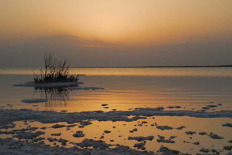 Just before sunrise over the Dead Sea in Israel.  You can see the salt in the foreground and encrusted in the reeds.