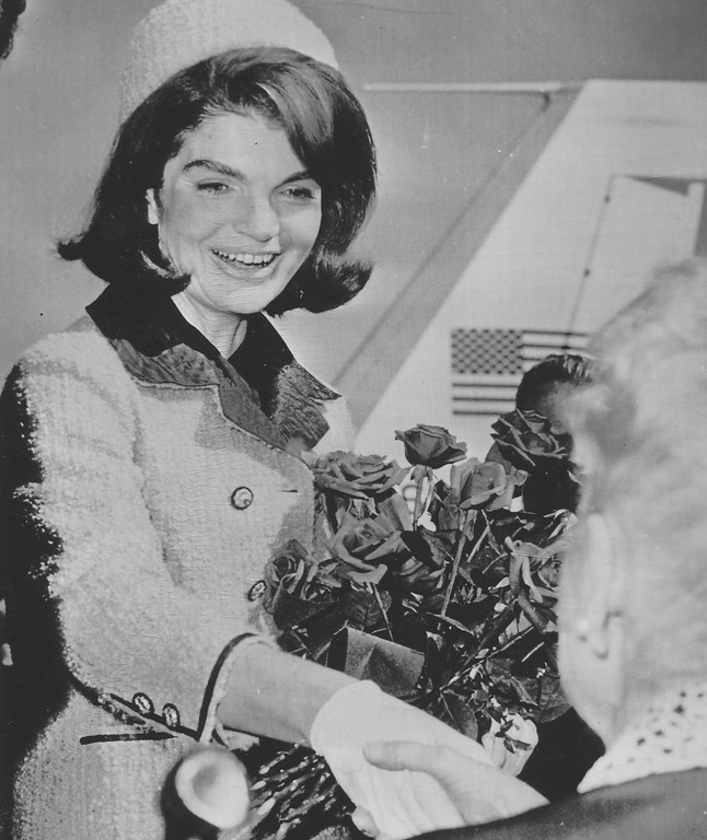 . Jacqueline Kennedy is greeted upon arrival to Dallas on Nov. 22, 1963. Associated Press file