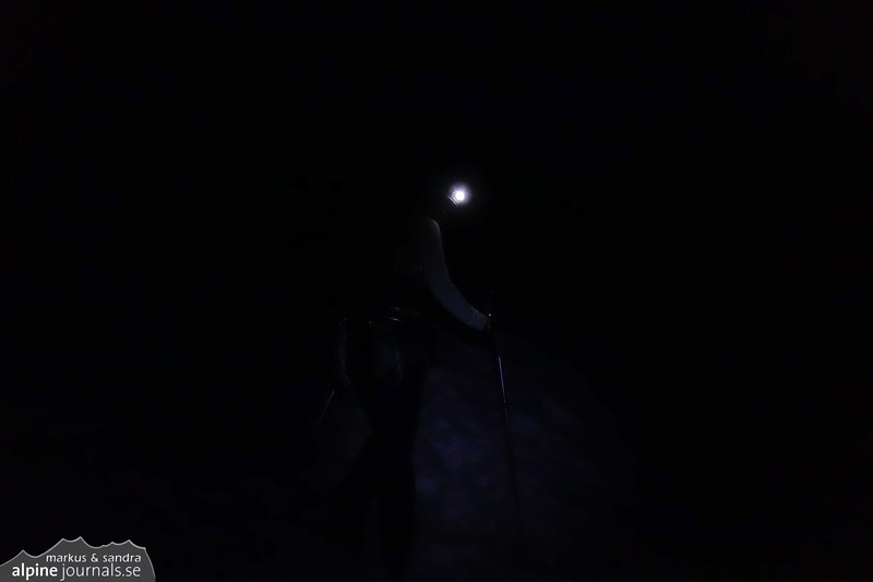 Stepping out in the darkness for an acklimatization tour to Tête Blanche.