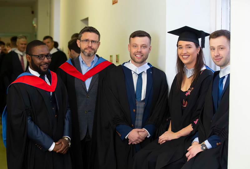 31/10/2019. Waterford Institute of Technology (WIT) Conferring Ceremonies. Pictured are Junior Mukuna Tramore, Maciej Koszczyc Kilkenny, Cillian Bennett New Ross, Denise Gaule Callan and Mike Hogan Clonmel. Picture: Patrick Browne