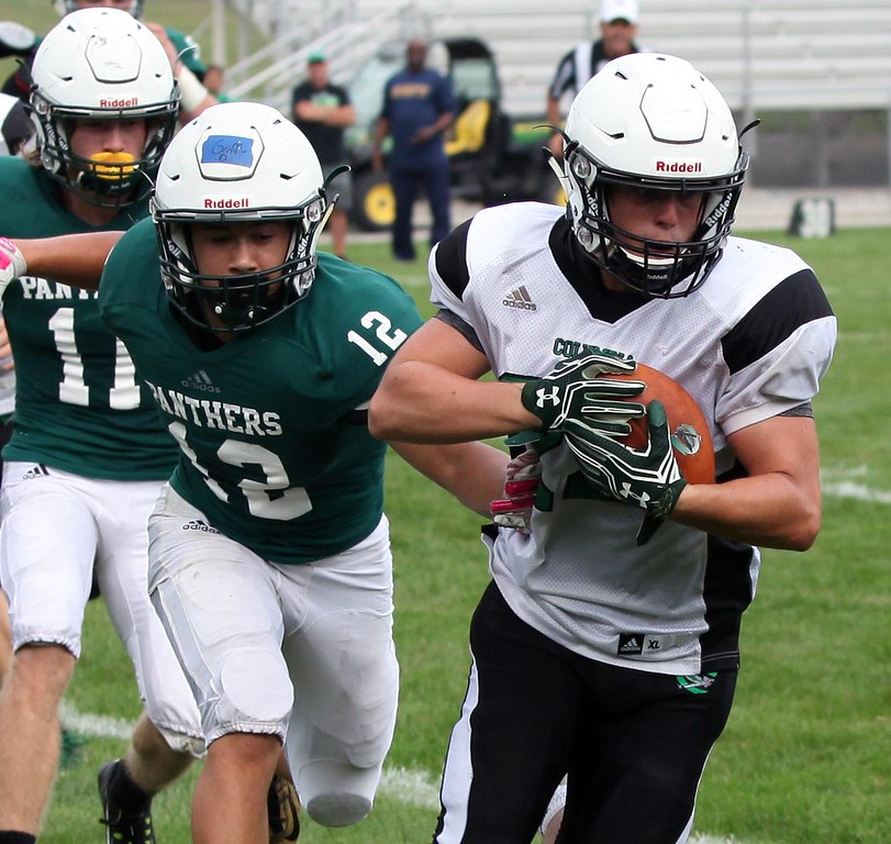 . Randy Meyers - The Morning Journal Columbia\'s Dom Governale makes a touchdown reception in front of David Griffin of Elyria Catholic during a scrimmage.