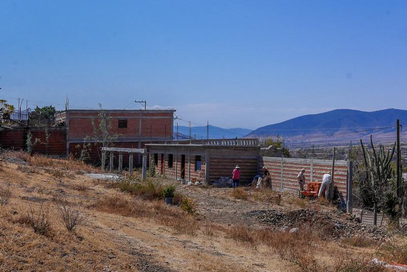 Volunteers planting a garden in Teotitlan, Mexico.
