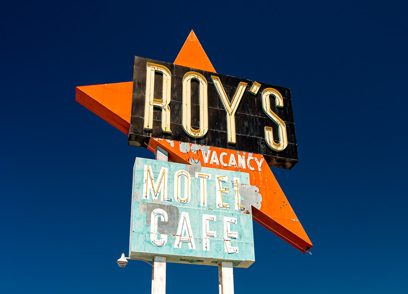 Roys cafe sign on Route 66 California