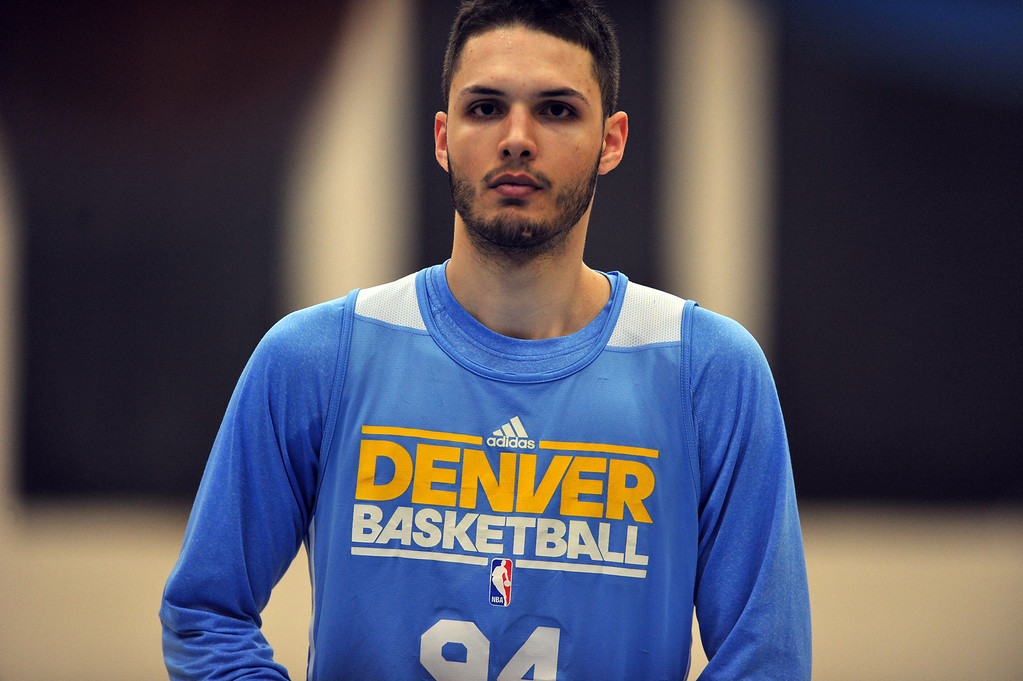 . DENVER, CO. - APRIL 18 : Evan Fournier of Denver Nuggets is in the team practice for the 1st round of playoff game against Golden State Warriors at Pepsi Center. Denver. Denver, Colorado. April 18, 2013. (Photo By Hyoung Chang/The Denver Post)
