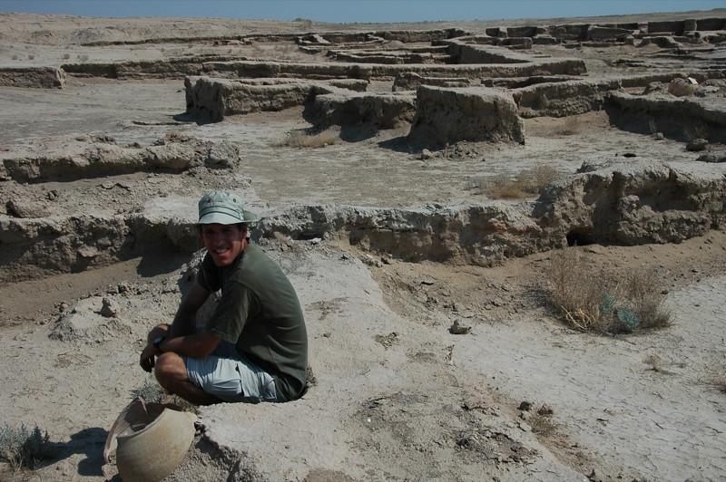Taking a Break at Archeological Ruins of Gonur Depe, Turkmenistan