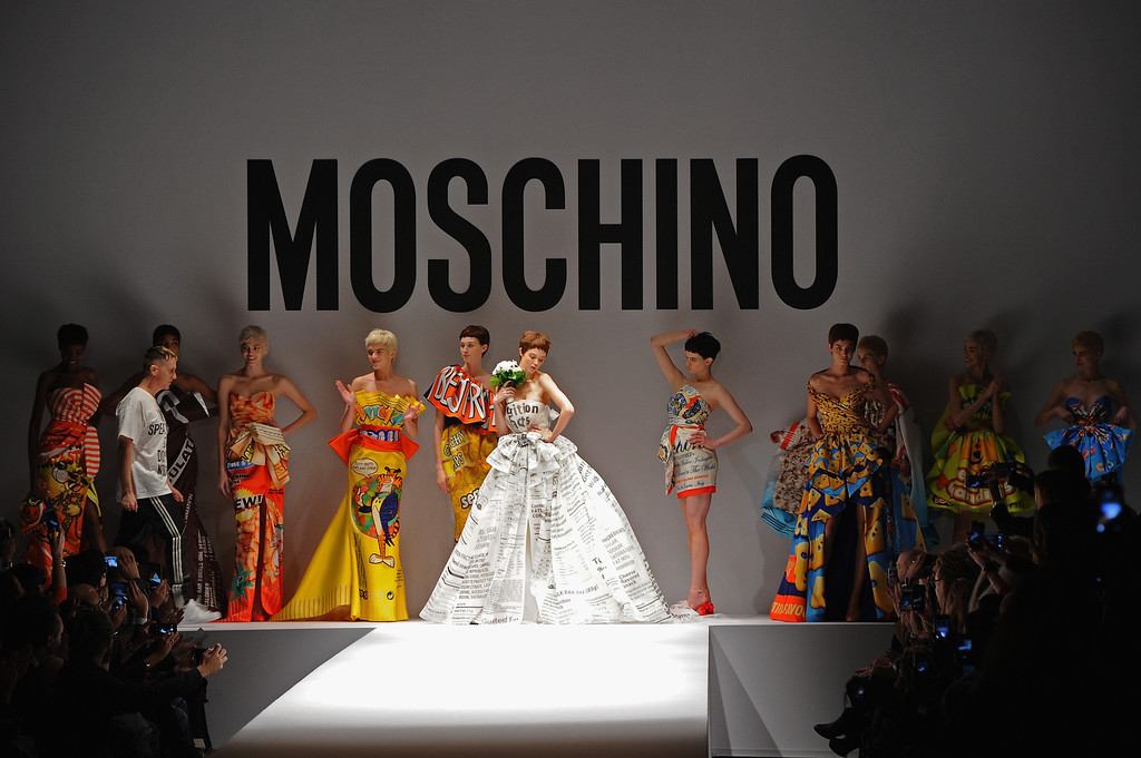 . Models walk the runway at the Moschino fashion show at Milan Fashion Week Womenswear Autumn/Winter 2014 on February 20, 2014 in Milan, Italy.  (Photo by Jacopo Raule/Getty Images)