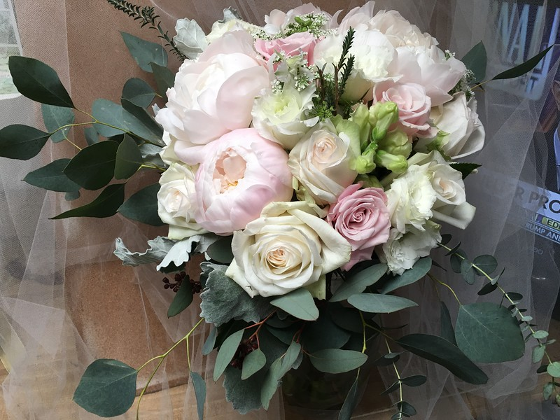 Baby pink peonies- blush roses- garden roses -$160