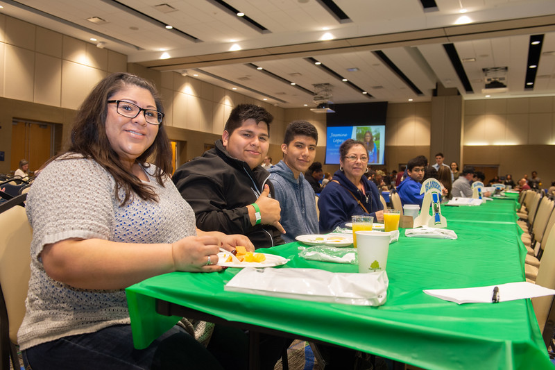 Chrstina Guerrero, Hilario Rodriguez, Carlos Briones. and Berta Henson enjoy their breakfast in the Anchor Ballroom.