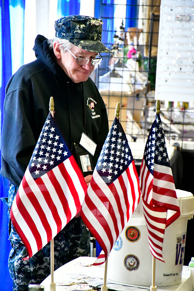 2/16/2019 Mike Orazzi | Staff Fred Coleman, from the Focus on Veterans Organization Inc, while collection donations during the 34th annual Bristol Home & Business Show at Bristol Eastern High School on Saturday.