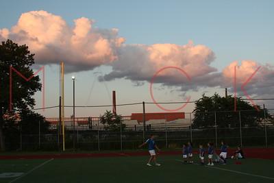 BROOKLYN - July 8: Players compete at Brooklyn Italians Soccer Academy Practice at John Dewey Field in Brooklyn, NY.