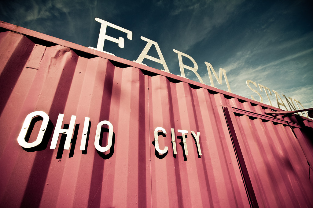 12/6/11  Near the entrance to the Ohio City Farm in Cleveland.  The Ohio City Farm is one of the largest contiguous urban farms in America.   http://www.ohiocityfarm.com/  This shipping container is part of a Cleveland Public Art project that turned two containers into farm stands near the entrance to the farm.  http://www.clevelandpublicart.org/projects/completed/ohio-city-farm-stand  <br>