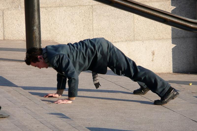 Mens Sana in Corpore Sano. Trafalgar Square, London