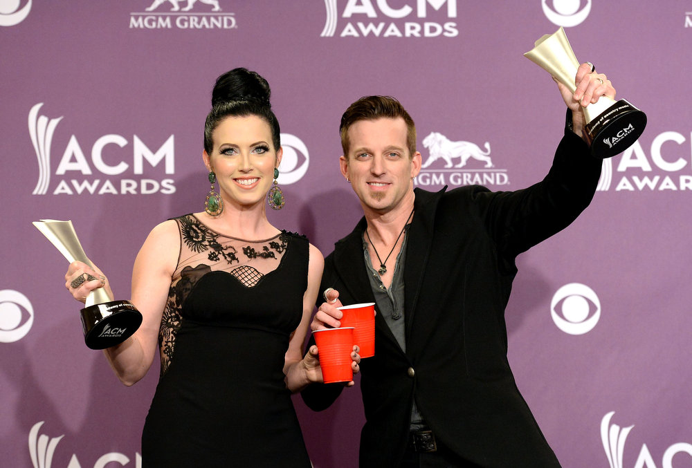 . Musicians Shawna Thompson (L) and Keifer Thompson of Thompson Square, winners of Vocal Duo of the Year, pose in the press room during the 48th Annual Academy of Country Music Awards at the MGM Grand Garden Arena on April 7, 2013 in Las Vegas, Nevada.  (Photo by Jason Merritt/Getty Images)