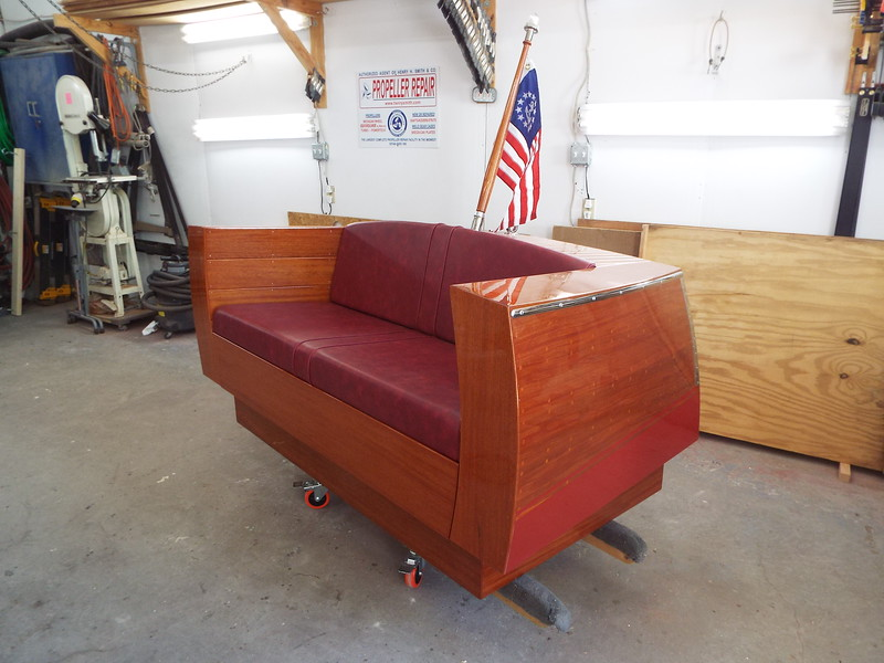 Port front view of the completed love seat.