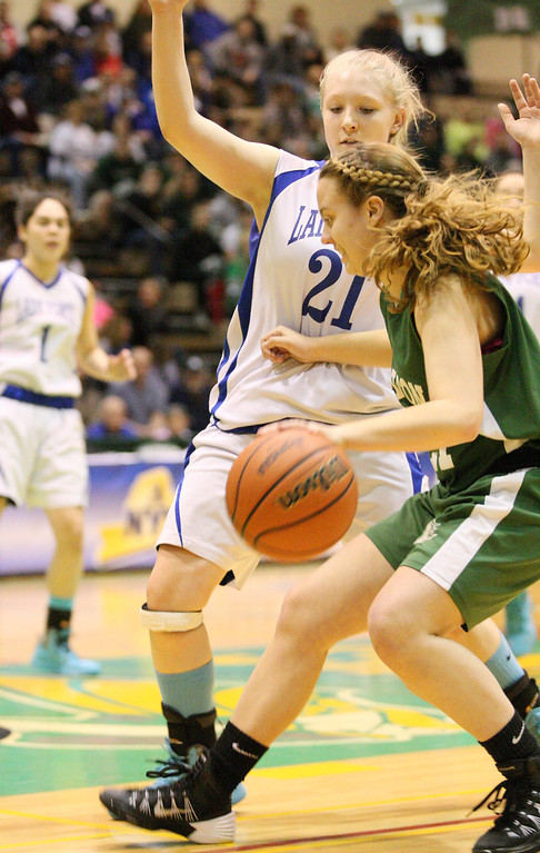 . Hamilton\'s Olivia Dow (21) moves the ball inside as Ft EdwardsKali Knapp (21) defends in the first half of the NYSPHSAA Class D semifinal in Troy on Saturday, March 15, 2014.JOHN HAEGER-ONEIDA DAILY DISPATCH @ONEIDAPHOTO ON TWITTER