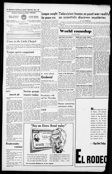 Daily Trojan, Vol. 36, No. 14, November 27, 1944