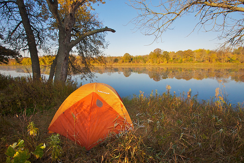My tent at sunrise along the St. Croix River.