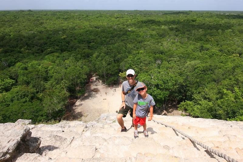 Climbing the Ixmoja pyramid