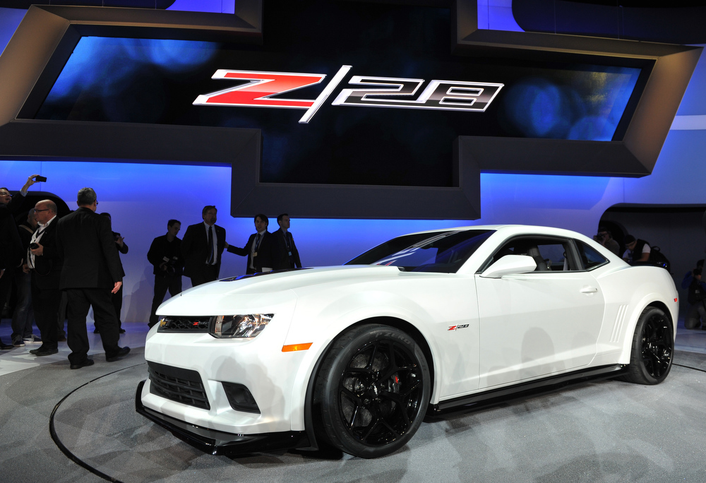 . The new Chevrolet Z28 is unveiled during the first press preview day at the New York International Automobile Show March 27, 2013 in New York.  STAN HONDA/AFP/Getty Images