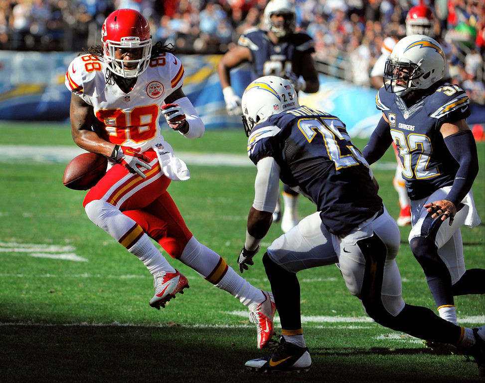 . Kansas City Chiefs wide receiver Junior Hemingway (88) fumbles the ball as San Diego Chargers defensive back Darrell Stuckey (25) closes in during the first half in an NFL football game, Sunday, Dec. 29, 2013, in San Diego. The Chiefs recovered the ball on the play. (AP Photo/Denis Poroy)
