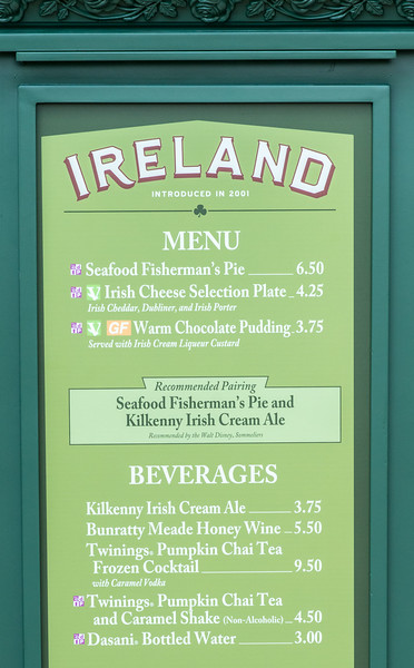 Ireland Menu - Epcot Food & Wine Festival 2016