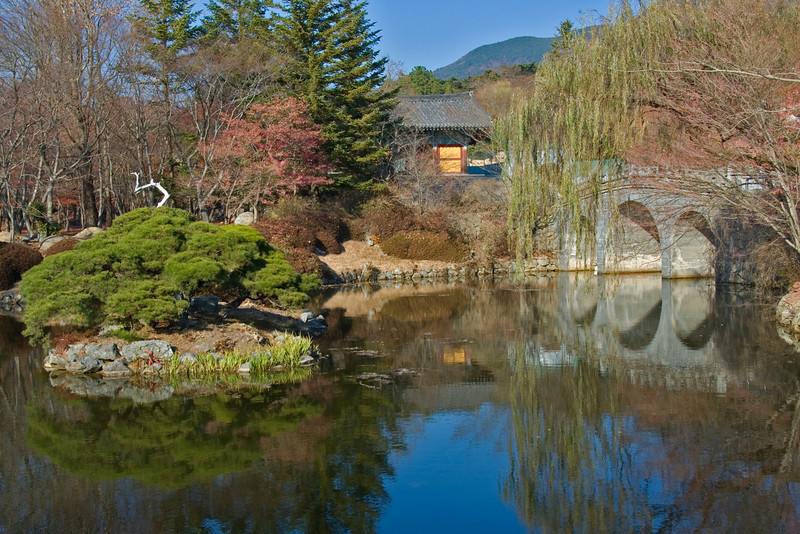 Clear pond and park at Gulguksa Temple - Gyeongju, South Korea