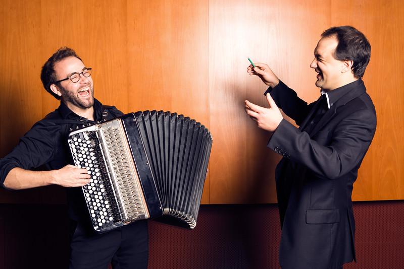 Pierre Cussac, accordionist (accordéoniste) & Nicolas Simon, conductor (chef d'orchestre)