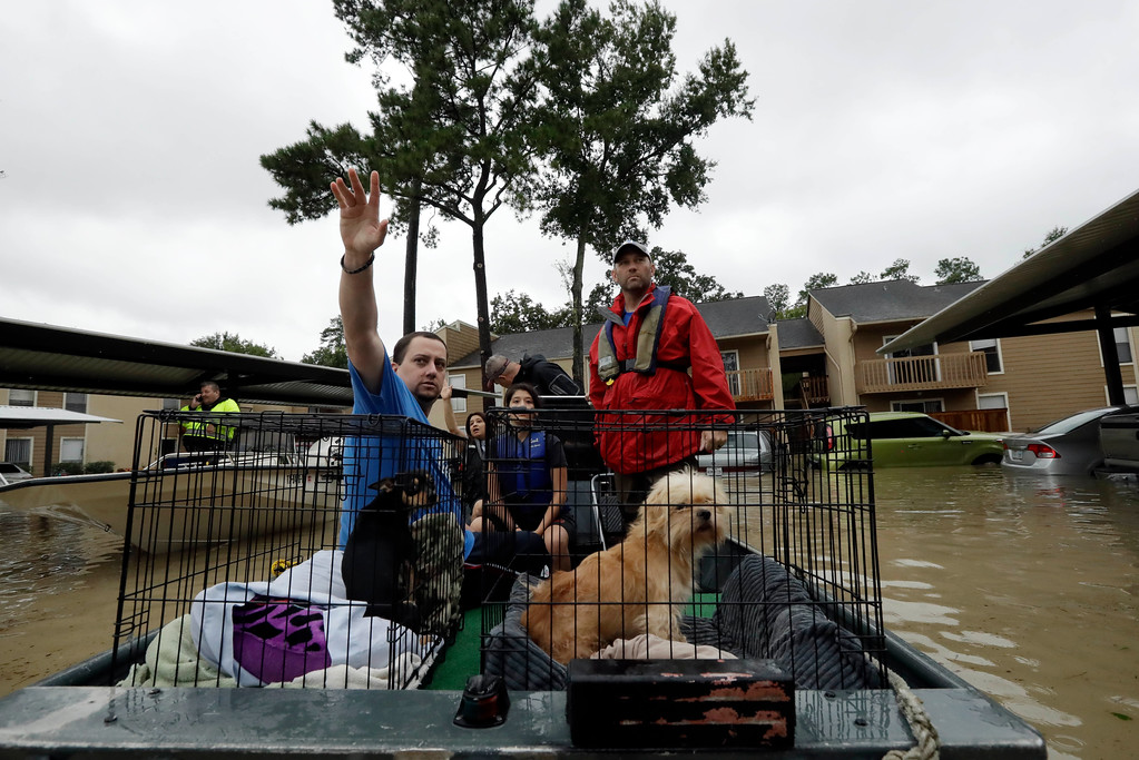 . Daniel Lugo waves to a neighbor as he is rescued from his apartment among floodwaters from Tropical Storm Harvey Tuesday, Aug. 29, 2017, in Kingwood, Texas. (AP Photo/Gregory Bull)